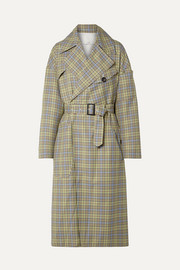 Belted checked woven trench coat