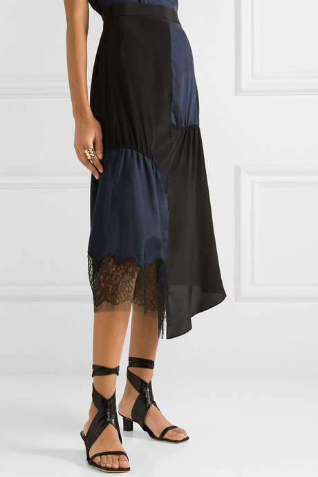 Paneled lace-trimmed satin-twill and crepe de chine midi skirt