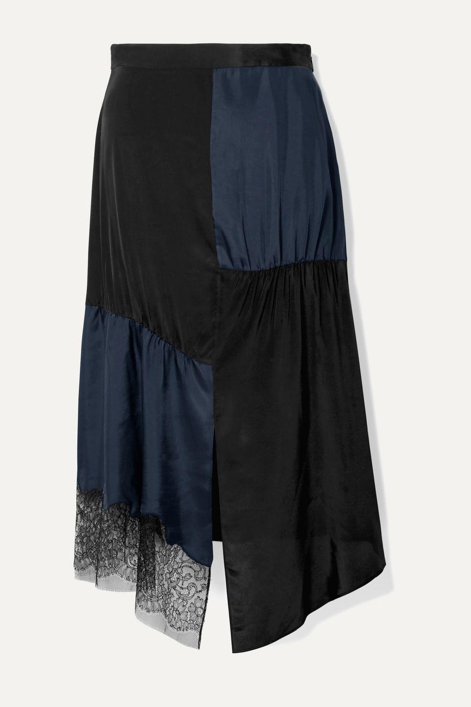Tibi Paneled lace-trimmed satin-twill and crepe de chine midi skirt