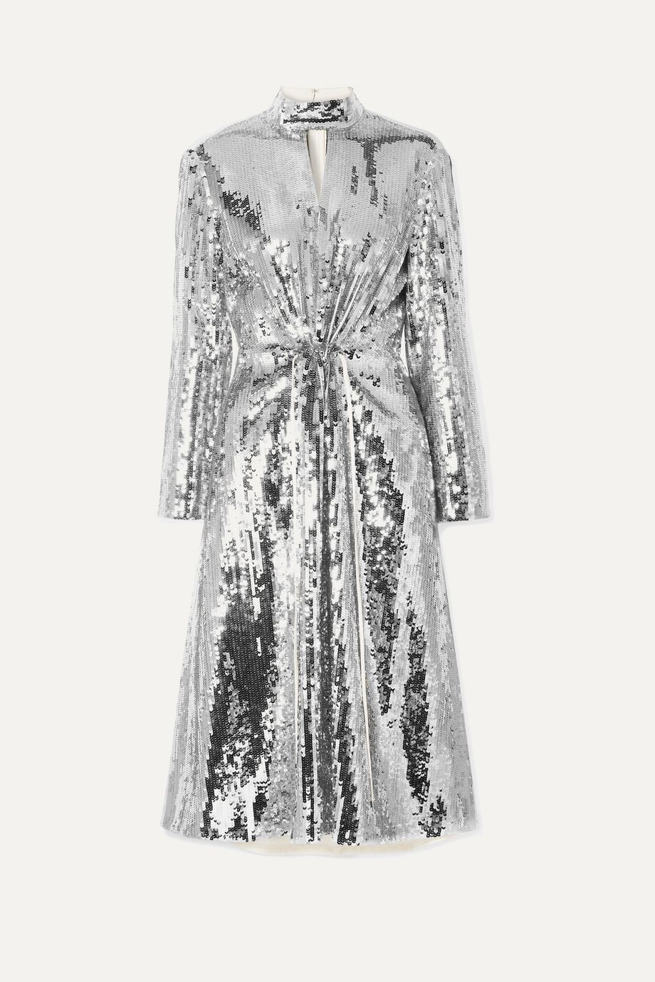 Tibi Avril cutout cotton-twill and sequined georgette midi dress