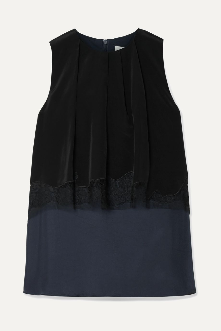 Tibi Layered lace-trimmed satin-twill and crepe de chine top