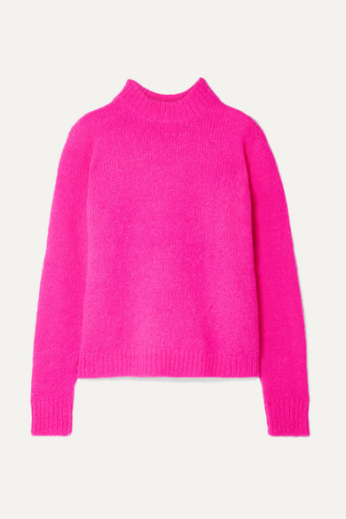 Tibi Cozette Neon Alpaca-blend Sweater In Fuchsia