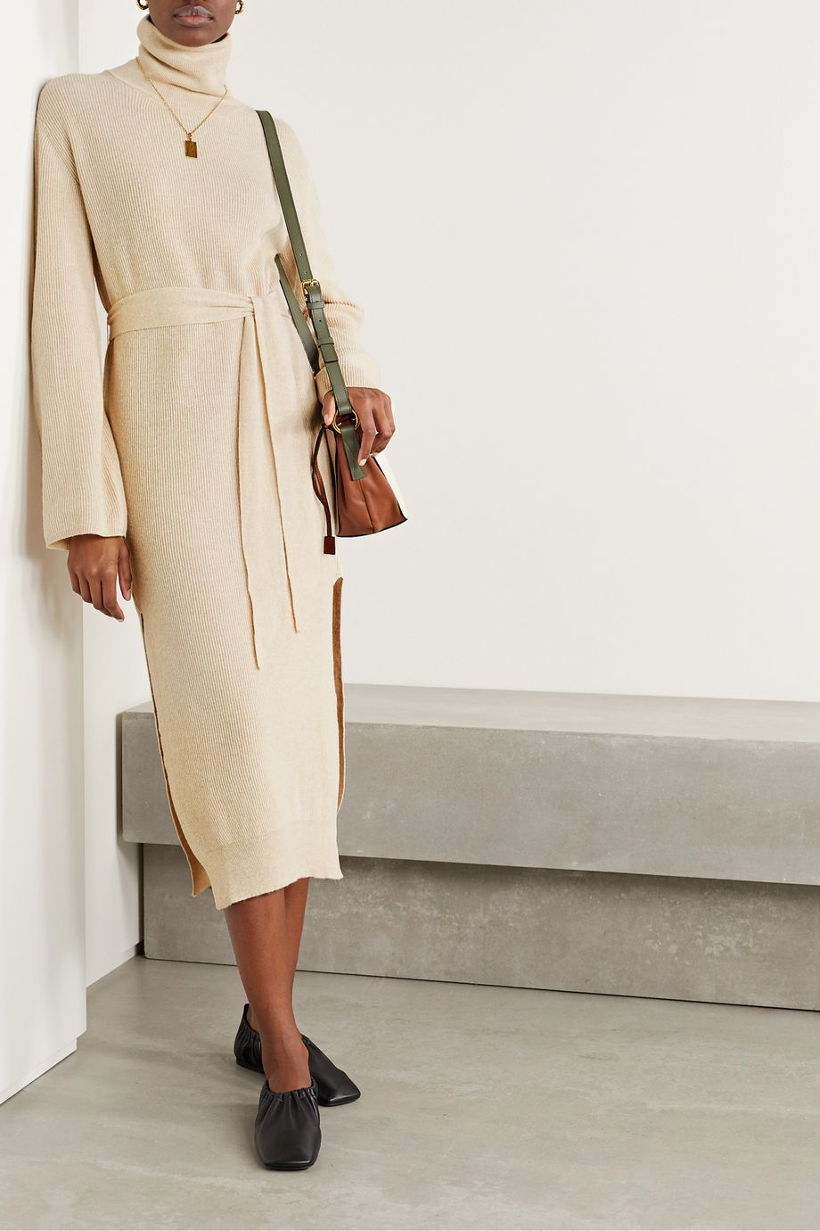 Nanushka Canaan ribbed-knit turtleneck midi dress