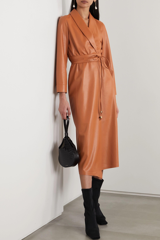 Nanushka Emery vegan leather wrap dress