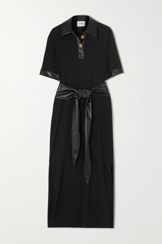 Nanushka Leila belted vegan leather-trimmed crepe midi dress