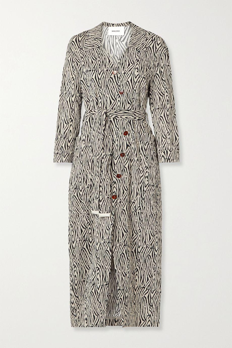 Nanushka Capri 60s belted zebra-print crinkled-crepe midi dress