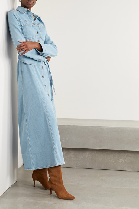 Jiaye belted denim maxi dress