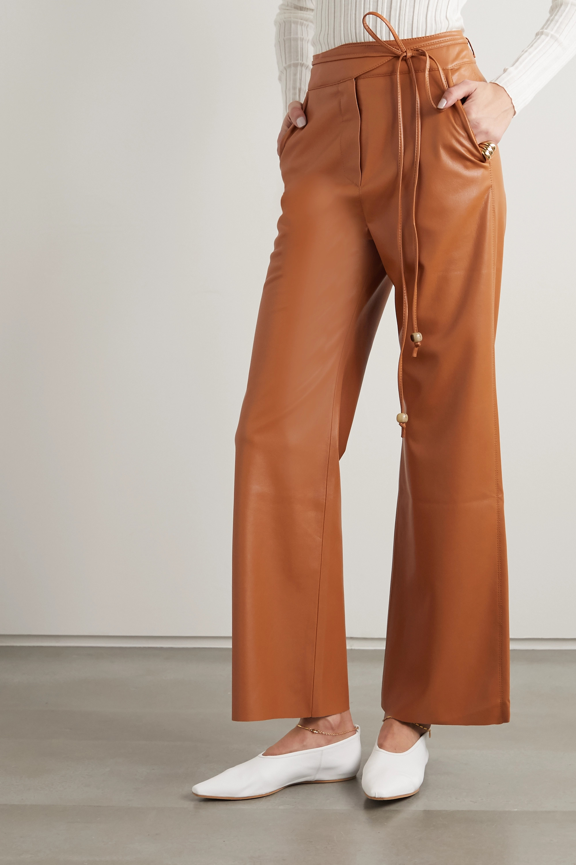 Nanushka Chimo vegan leather straight-leg pants