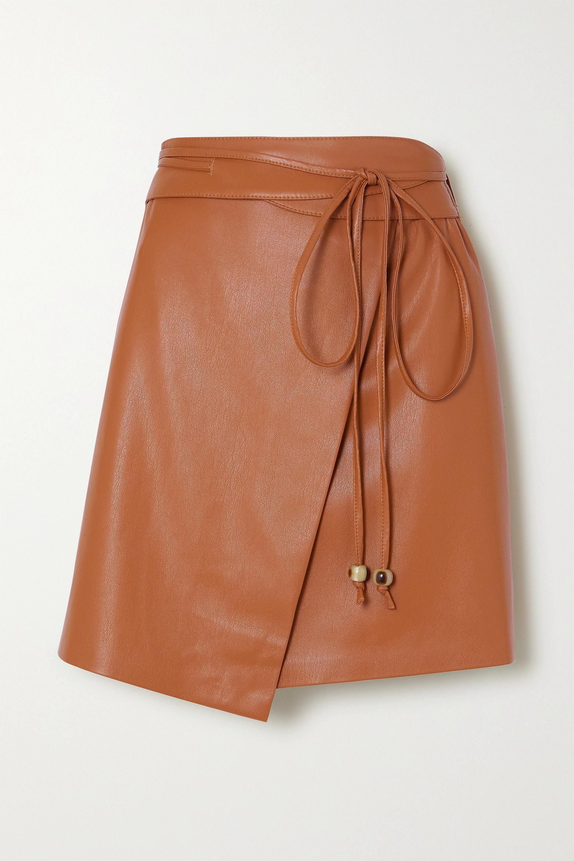 Nanushka Sekoya vegan leather wrap mini skirt