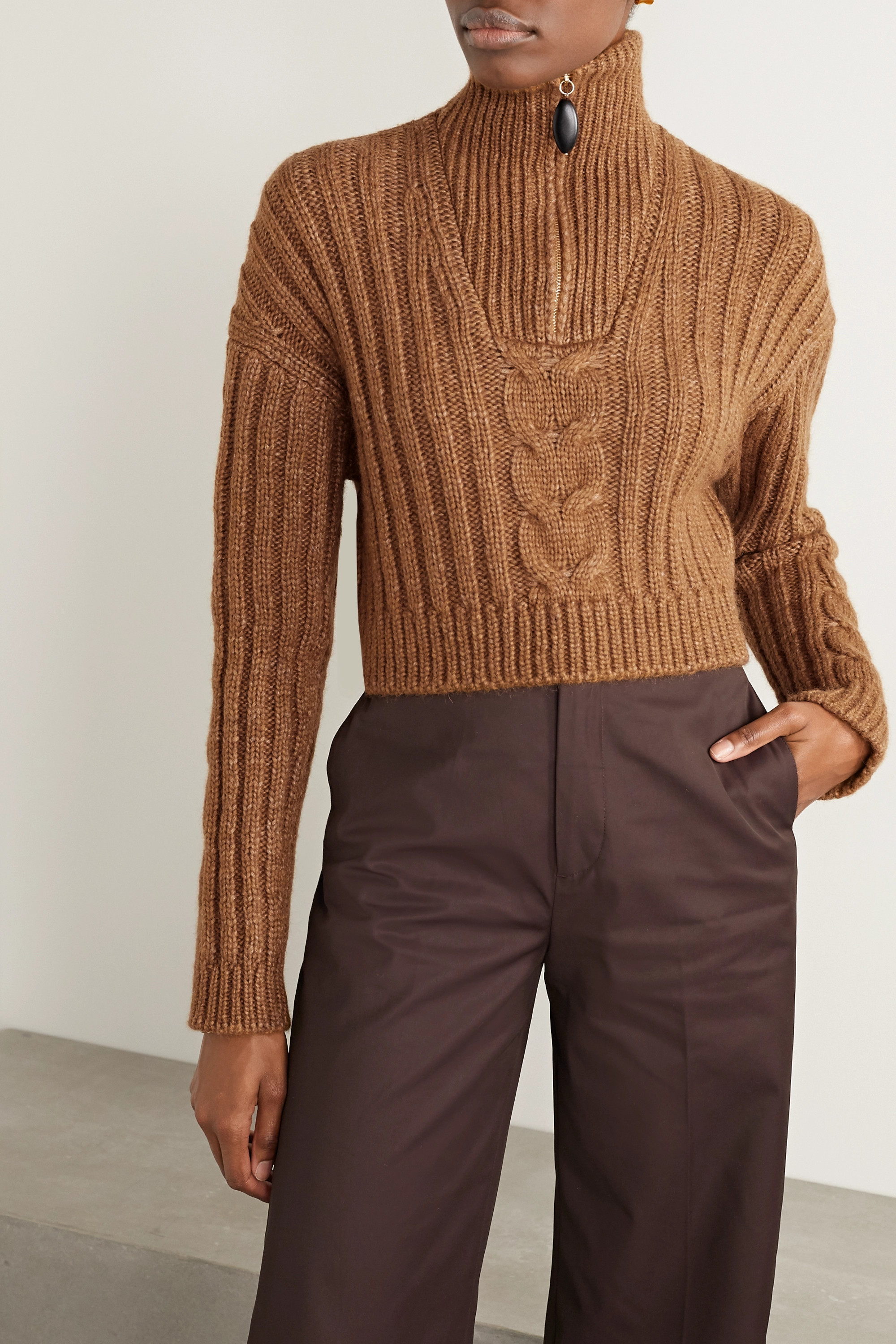 Nanushka Eria cropped cable-knit sweater