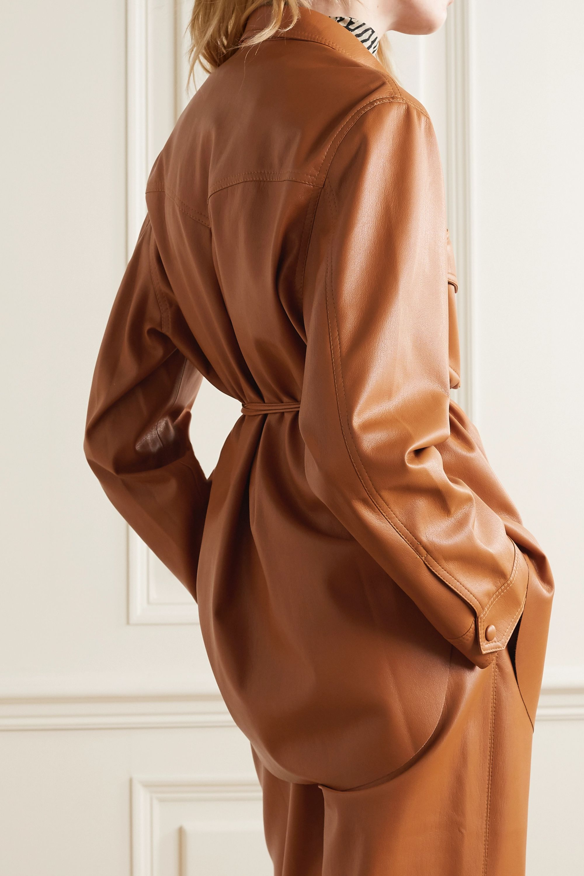 Nanushka Eddy belted vegan leather shirt
