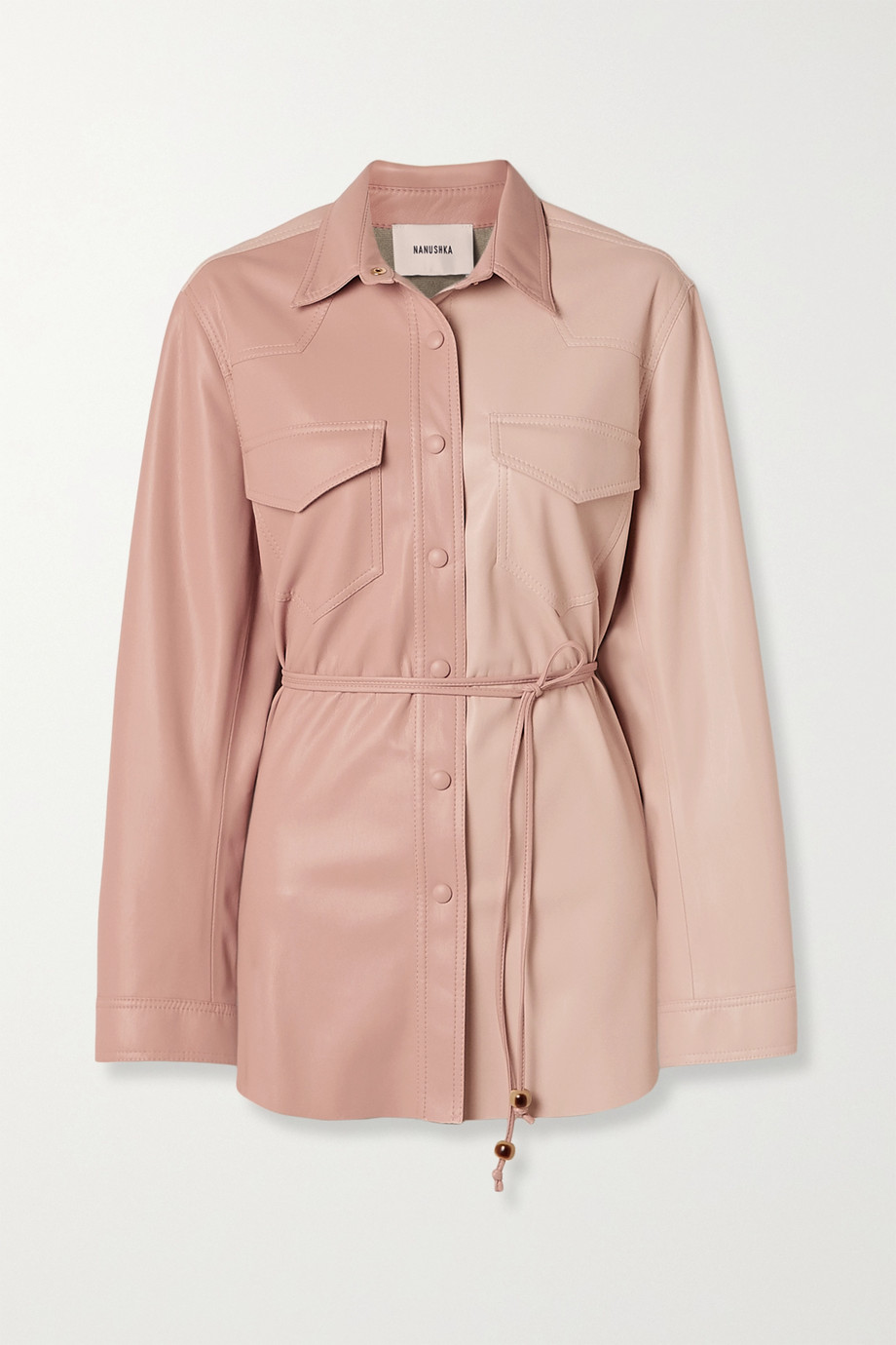 Nanushka Eddy belted two-tone vegan leather shirt
