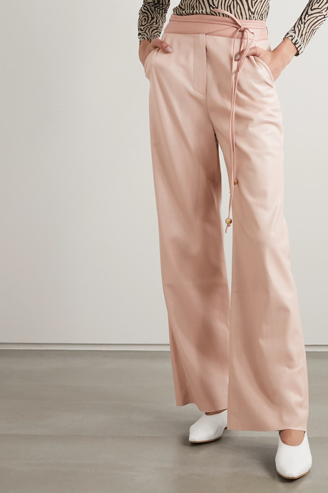 Chimo belted vegan leather wide-leg pants