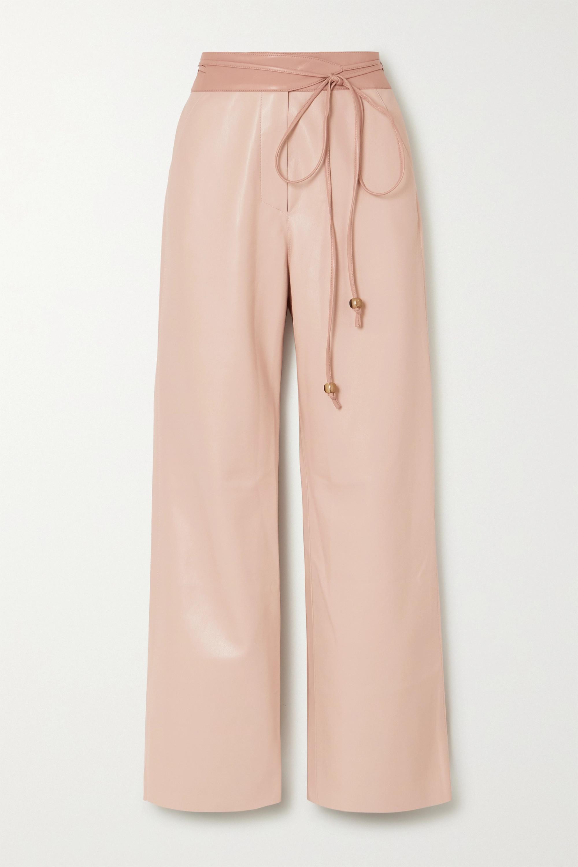 Nanushka Chimo belted vegan leather wide-leg pants