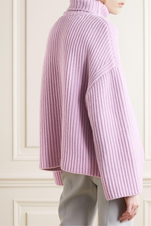 Nanushka Raw ribbed wool-blend turtleneck sweater