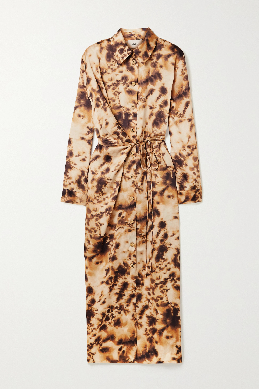 Nanushka Bisso wrap-effect tie-dyed satin-twill midi dress