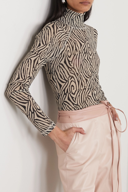 Nanushka Madi zebra-print jersey turtleneck top