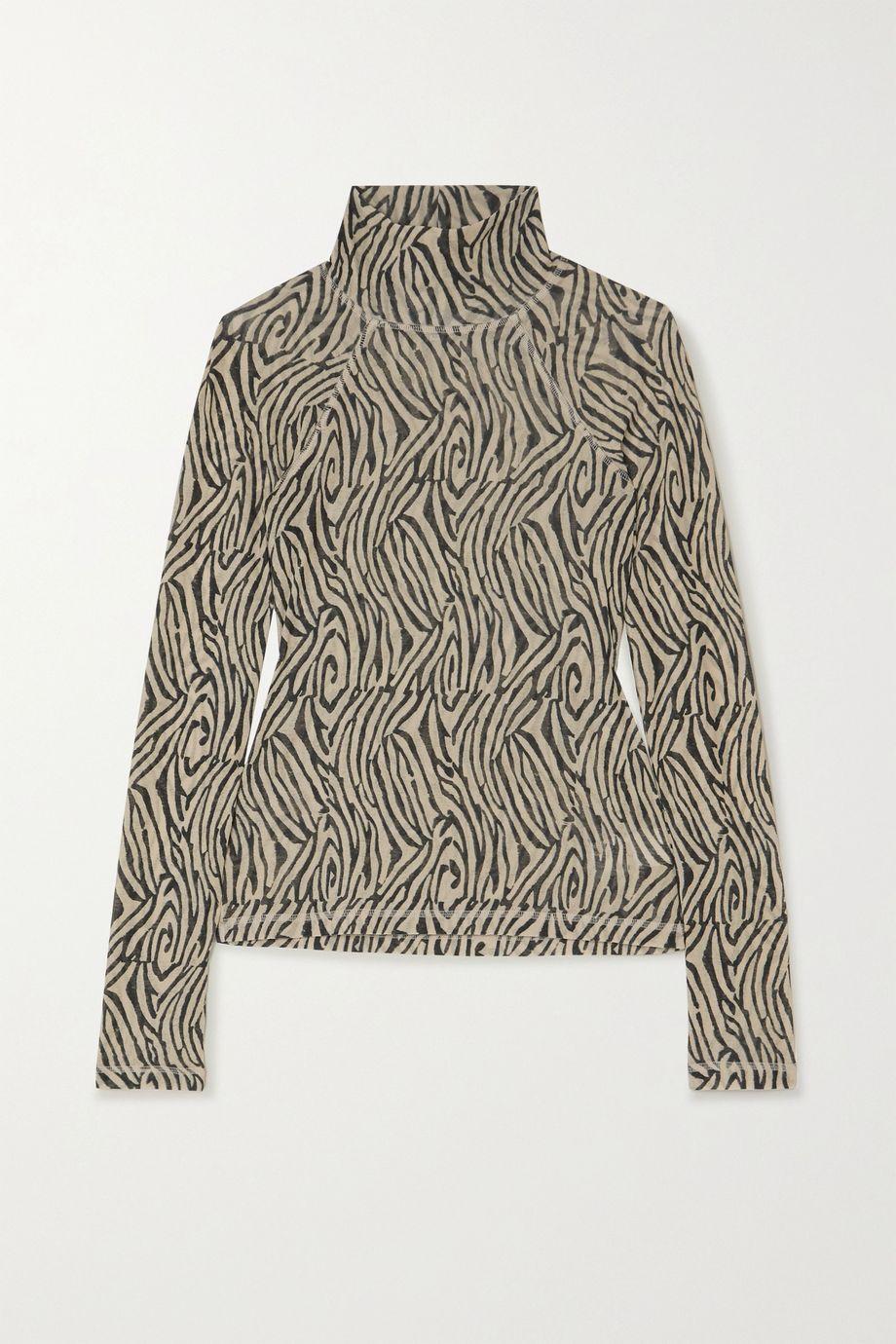 Nanushka Madi 斑马纹平纹布高领上衣