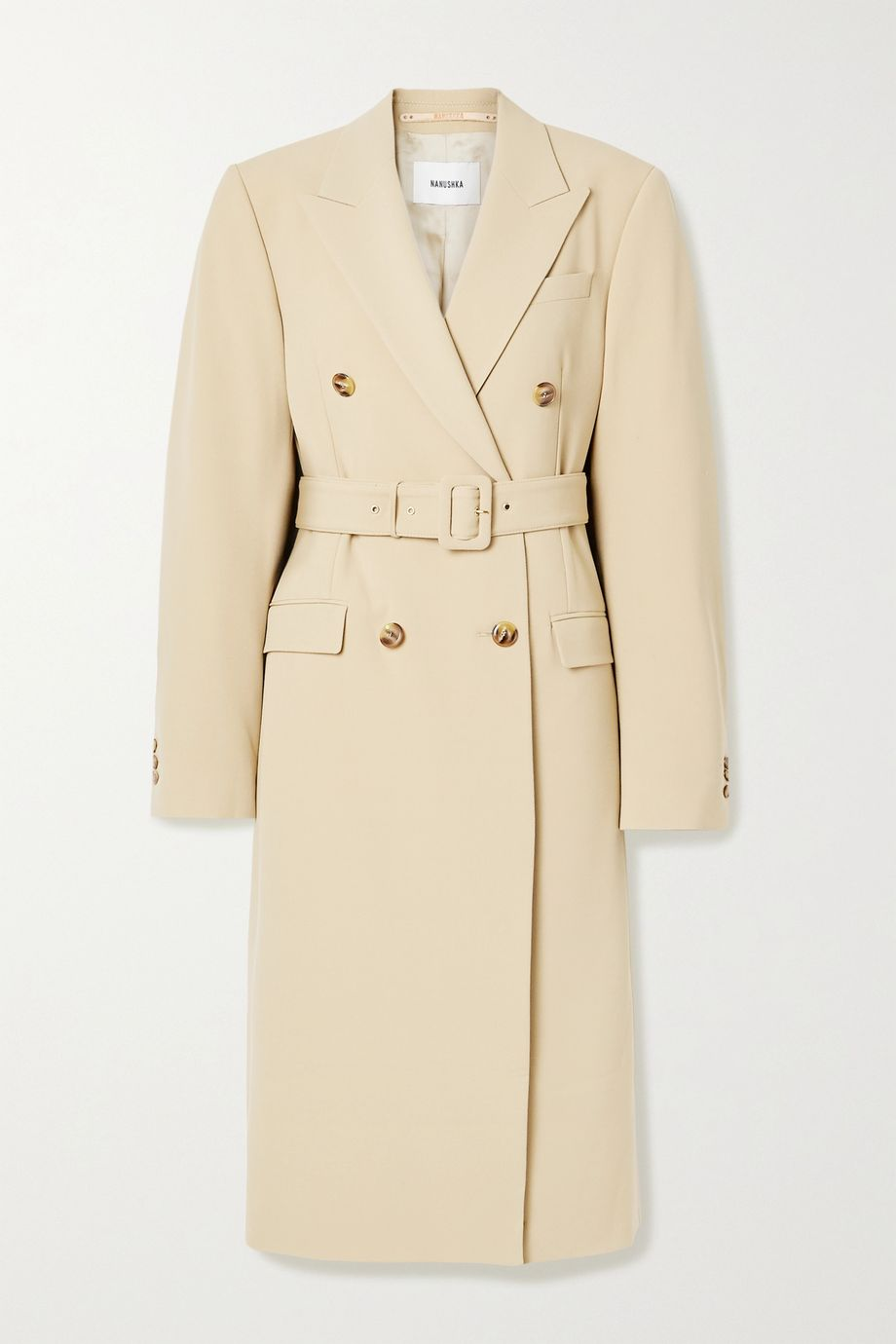 Nanushka Greta belted double-breasted woven coat