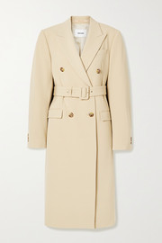 Greta belted double-breasted woven coat