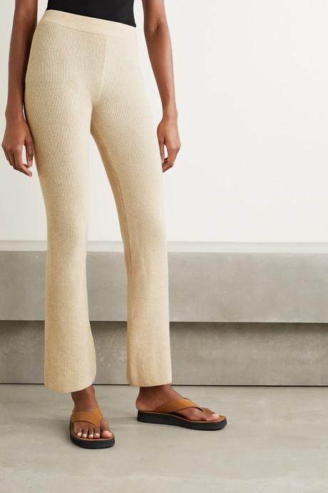 Leba ribbed-knit flared pants