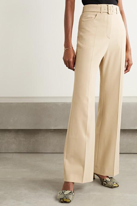 Clara belted woven wide-leg pants