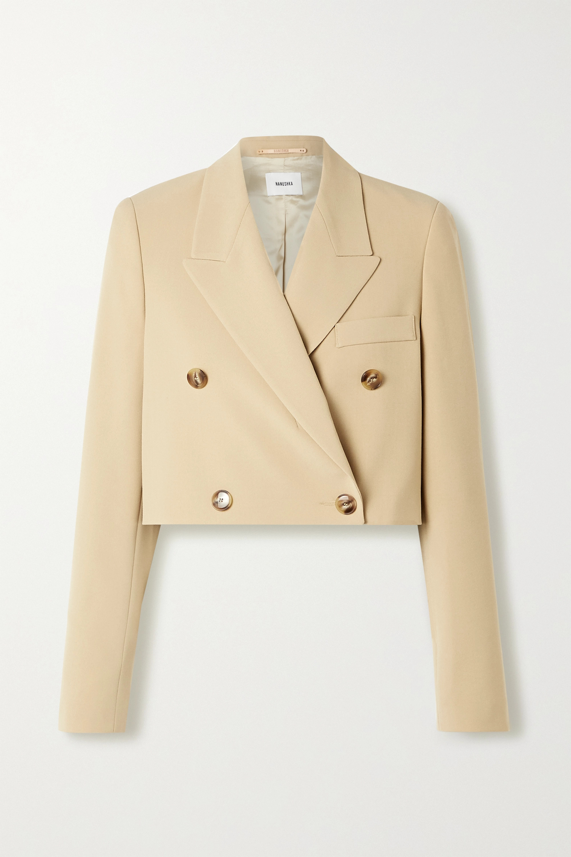 Nanushka Moscot cropped double-breasted woven blazer