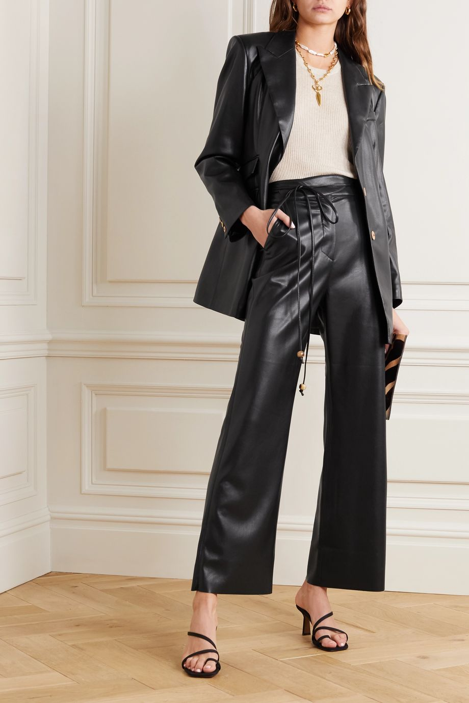 Nanushka Chimo cropped vegan leather wide-leg pants
