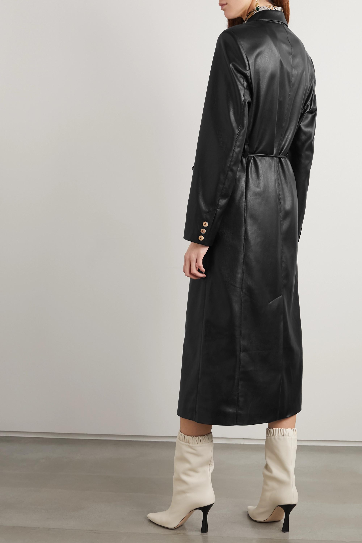 Nanushka Malina belted vegan leather trench coat