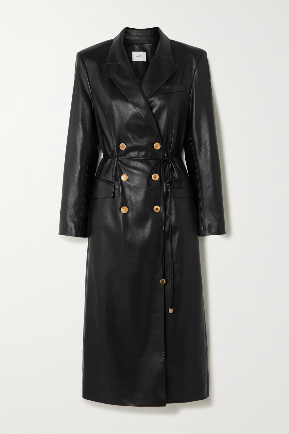 Nanushka Malina belted vegan leather trench coat