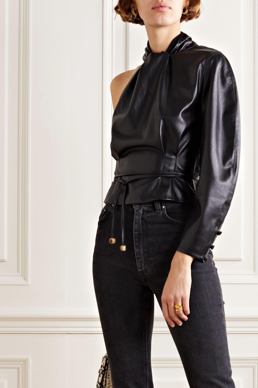 Nanushka Elodia one-sleeve vegan leather top