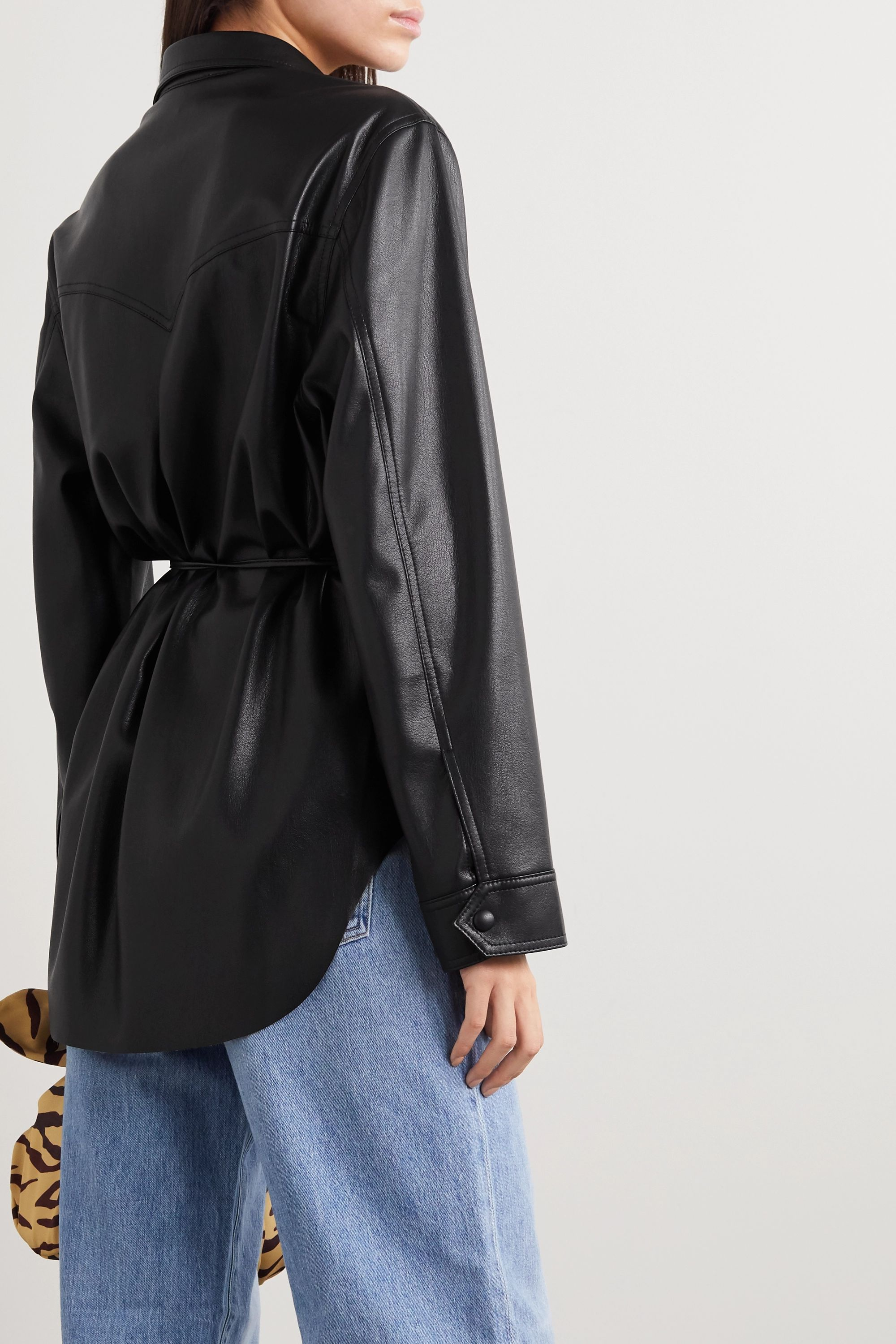 Nanushka Eddy belted vegan leather shirt