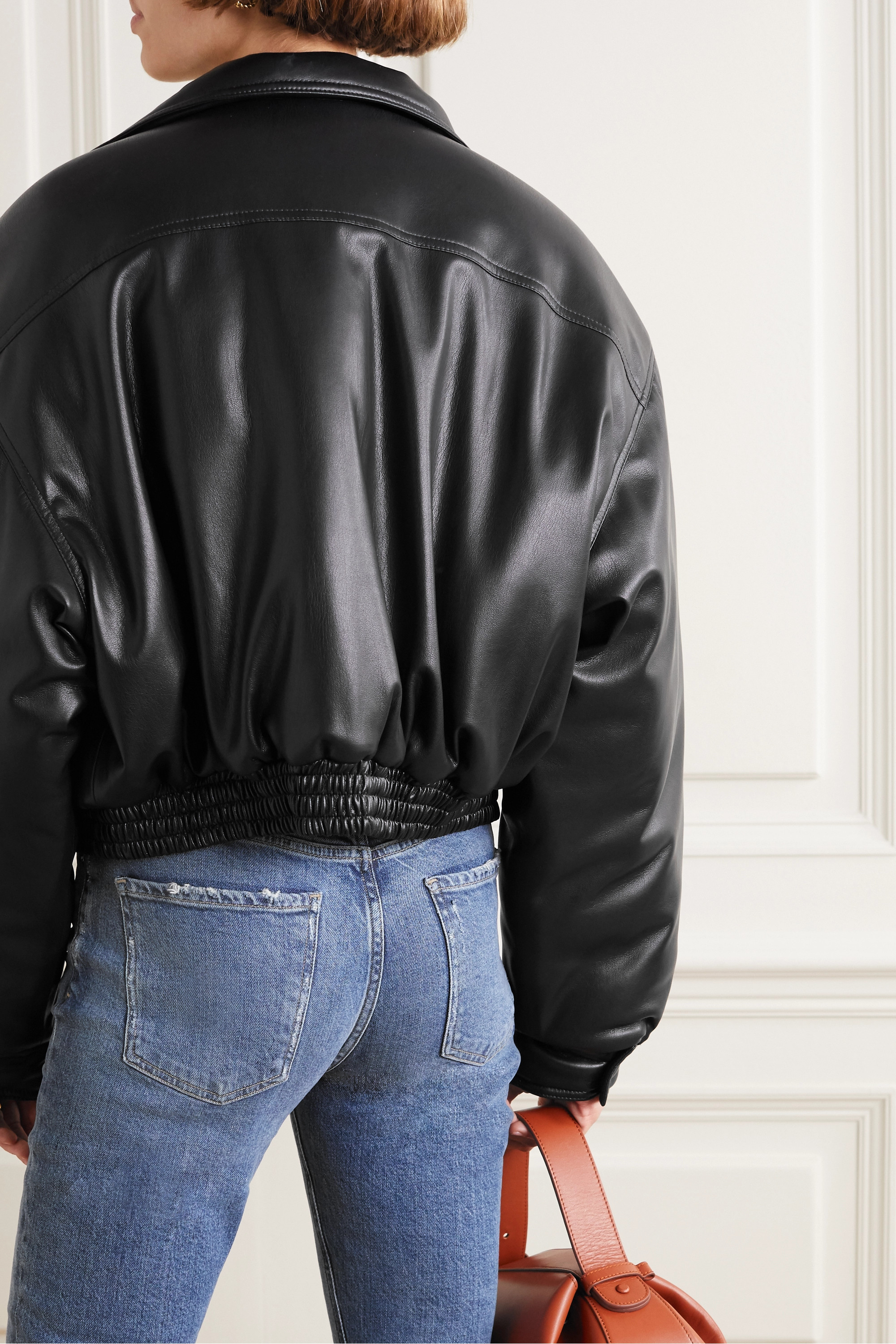 Nanushka Bomi vegan leather bomber jacket
