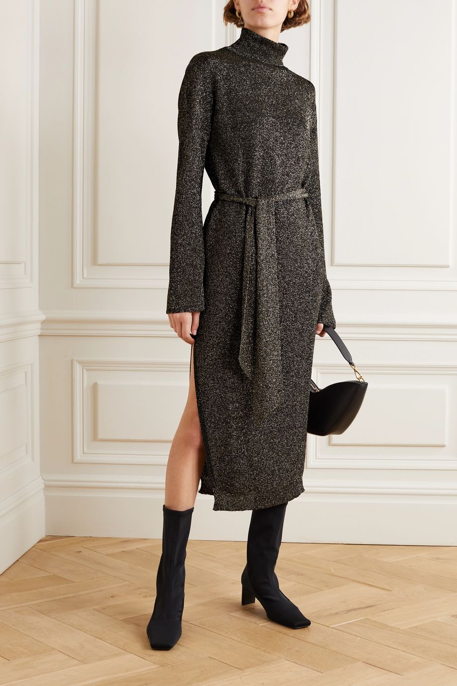 Nanushka Canaan Lurex turtleneck midi dress