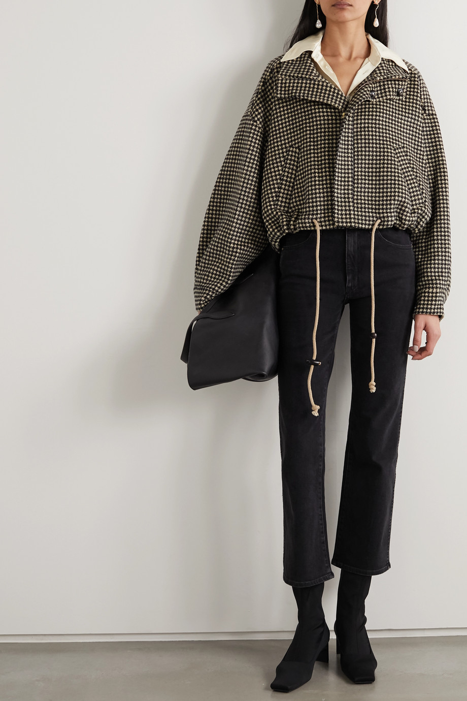 Nanushka Logan houndstooth wool and silk-blend jacket