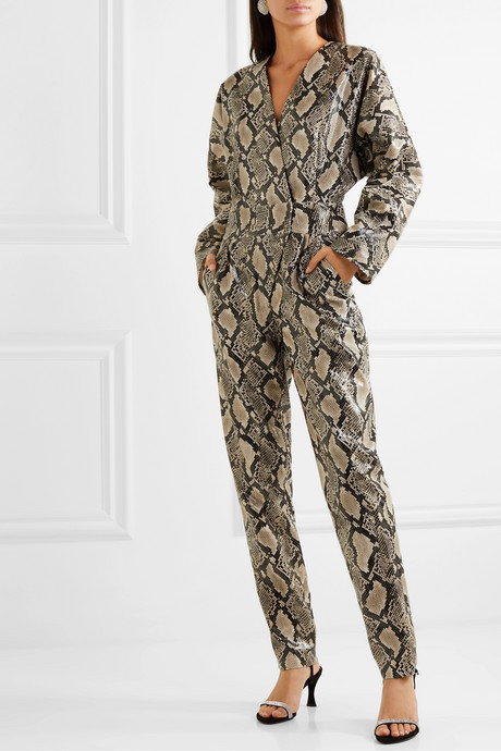 + Pernille Teisbaek Amiya snake-effect faux leather jumpsuit