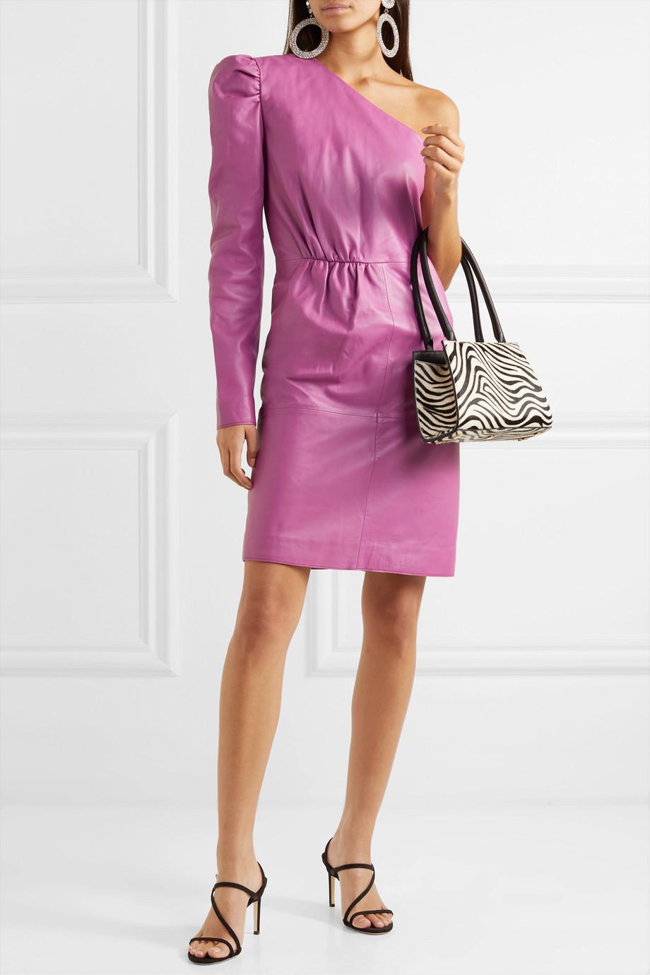 Stand Studio + Pernille Teisbaek Kayla one-shoulder leather mini dress