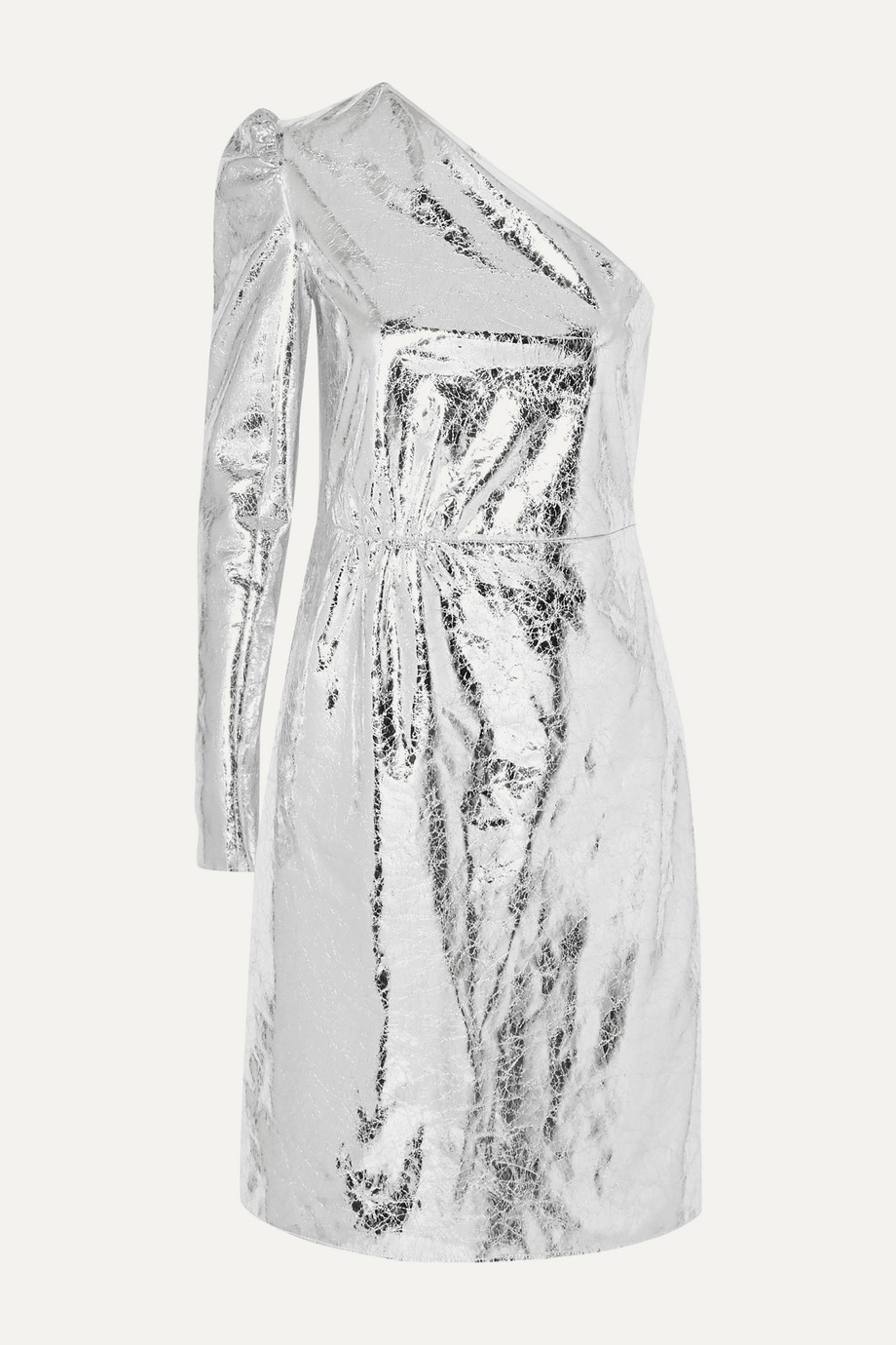 Stand Studio + Pernille Teisbaek Kayla one-sleeve crinkled metallic faux leather mini dress