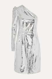 + Pernille Teisbaek Kayla one-sleeve crinkled metallic faux leather mini dress