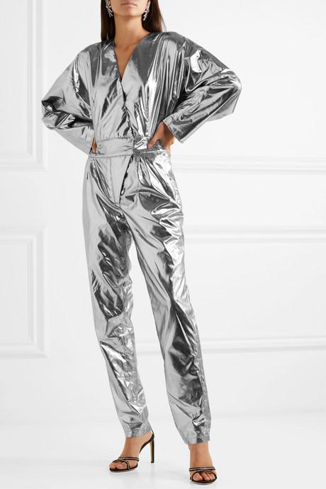 + Pernille Teisbaek Amiya metallic faux leather jumpsuit