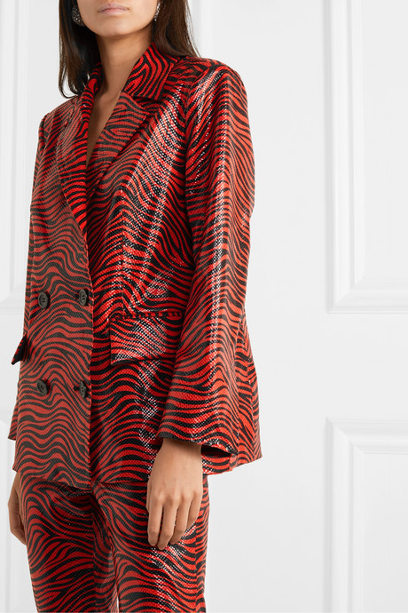 + Pernille Teisbaek Cassidy double-breasted zebra-print faux leather blazer