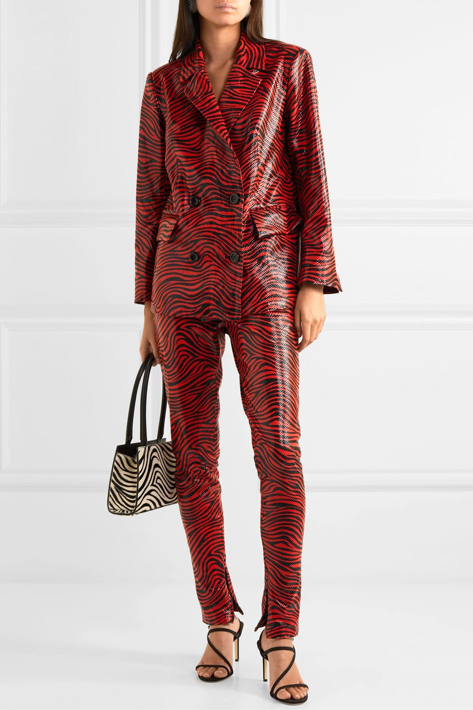 Stand Studio + Pernille Teisbaek Cassidy double-breasted zebra-print faux leather blazer