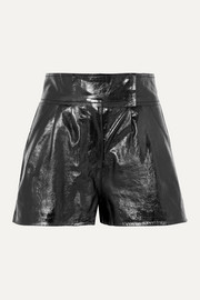 + Pernille Teisbaek Destiny pleated textured-leather shorts