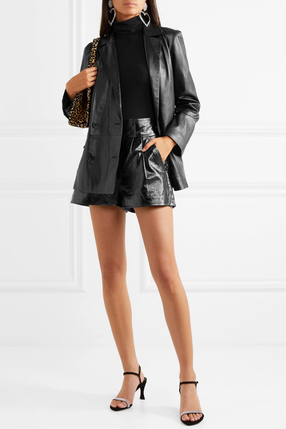 Stand Studio + Pernille Teisbaek Destiny pleated textured-leather shorts