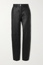 Cindy paneled leather straight-leg pants