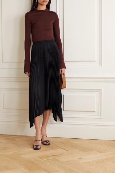 Ade Asymmetric Plissé Crepe Midi Skirt by Joseph