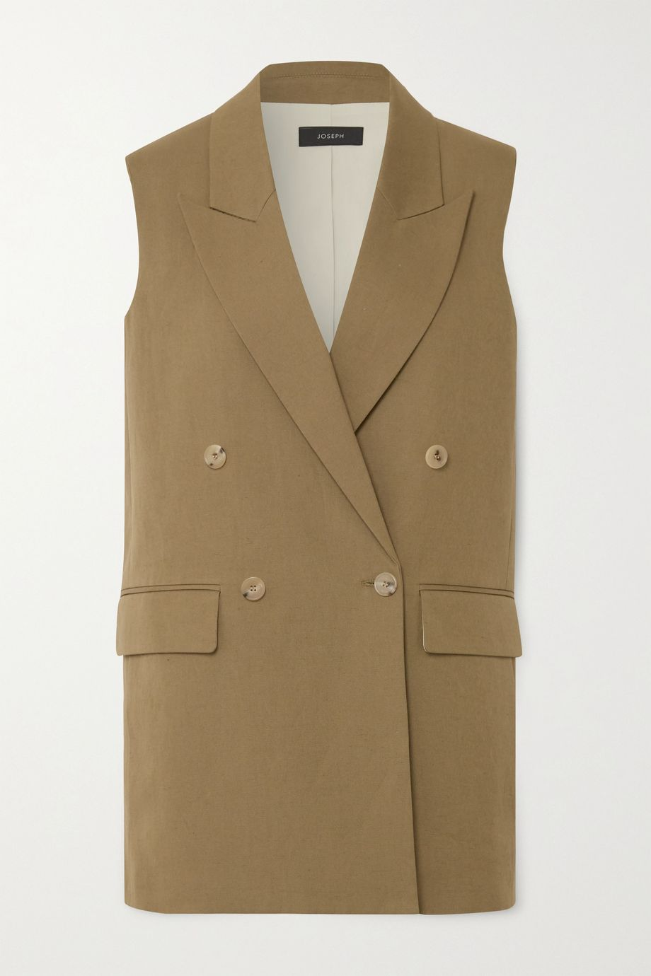 Joseph Double-breasted cotton and linen-blend vest