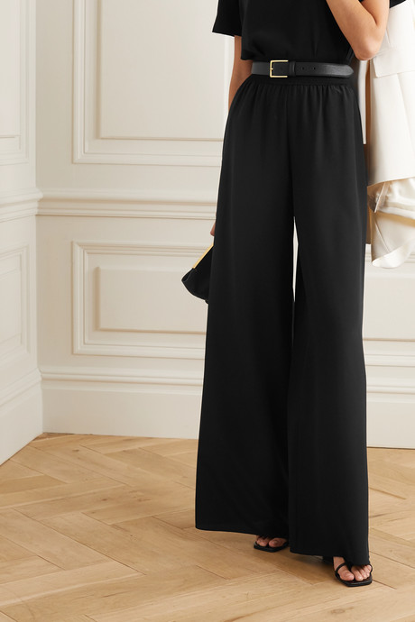 Huland ribbed knit-trimmed silk-crepe wide-leg pants