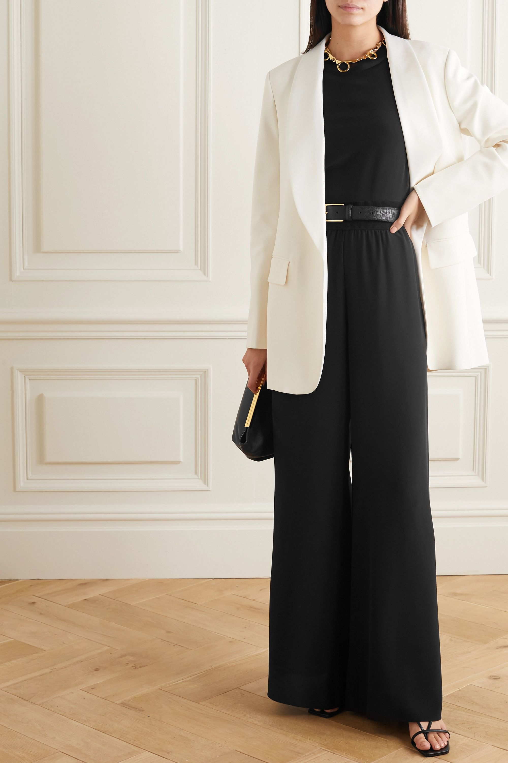 Joseph Huland ribbed knit-trimmed silk-crepe wide-leg pants