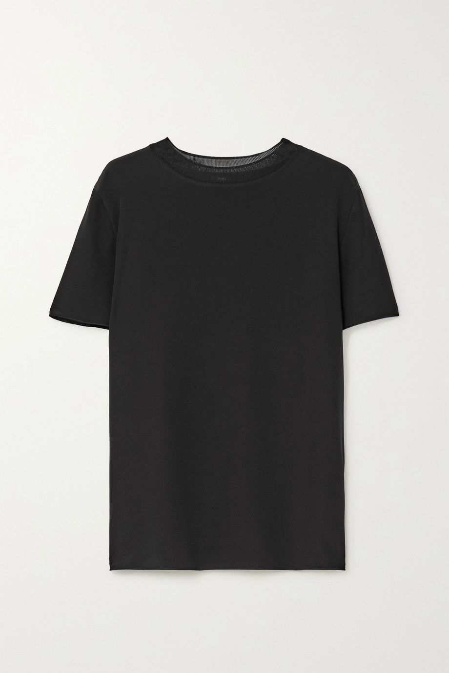 Joseph Rubin ribbed knit-trimmed silk-crepe T-shirt